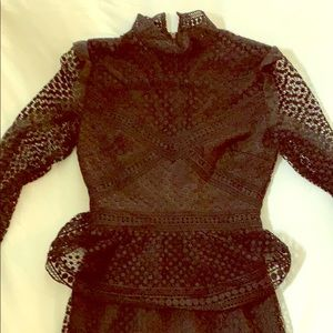 Aqua (bloomingdales) black lace long sleeve dress